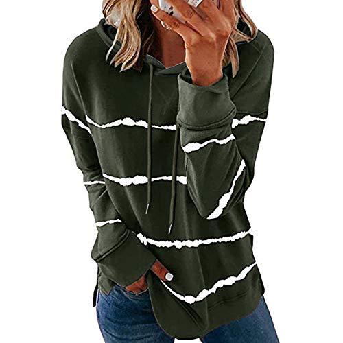 Kapuzenpullover Langarmshirt Sweatshirt mit Streifen Kordelzug Pullover Damen Casual Shirt Rundhals Lose Oberteil Tunika Tops Streetwear Lange