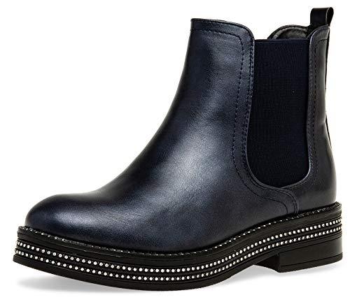 Caspar SBO092 Damen Chelsea Boots mit dezentem Glitzer Strass Dekor, Farbe:dunkelblau, Größe:38 EU