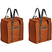 Earthwise Reusable Insulated Grocery Bags Heavy Duty Nylon Thermal Cooler Tote Waterproof with ZipperClosure Keeps food Hot or Cold (2 Pack) (Orange)