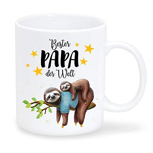 Wandtattoo Loft Tasse Geschenk Weihnachten Faultier Bester Papa der Welt schwarz weiß/Jungen-Faultierkind/Glänzende Oberfläche