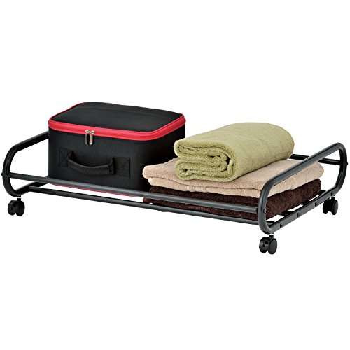 MyGift 24-Inch Rolling Metal Under-Bed Storage Cart with Rotating Wheels