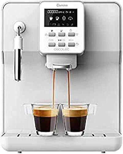 Cecotec cafetera megautomática Power Matic-ccino 6000 Serie Bianca. 19 Bares,1-2 cafés, Sistema de rápido Calentamiento, Pantalla LCD, depósito café 250 gr, Molinillo Integrado, 1350 W