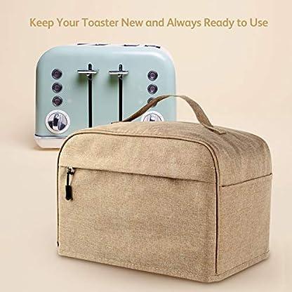 Toaster-Abdeckung-Staub-und-Fingerabdruckschutz-mit-Reissverschluss-und-offenen-Taschen-Toaster-Schutz-Kueche-kleine-Geraete-maschinenwaschbar
