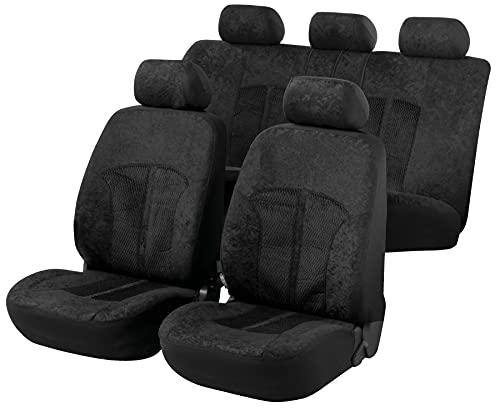 Walser Auto Sitzbezug Velvet mit Reißverschluss, Zipp-IT Schonbezüge Auto, Komplettset, 2 Vordersitzbezüge, 1 Rücksitzbezug schwarz 11788