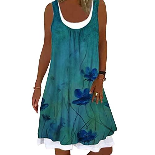 feftops Vestidos Verano Mujer sin Mangas Casual Vestidos de Playa Boho Estampado Flores Chaleco Vestido Cuello U Falda Corta De Dos Piezas Cómodo Vestido Sexy Fresco