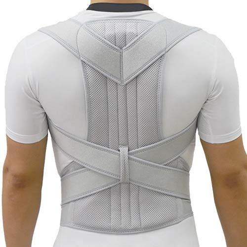 ZWQASP Back Orthosis,Unisex Back Shoulder Posture Corrector Support Straighten Brace Belt Orthopedic Adjustable Orthosis Spine Support Belt Men Women (Color : Silver, Size : L)