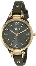Fossil Women's Georgia Quartz Leather Three-Hand Watch, Color: Rose Gold, Grey (Model: ES3077)