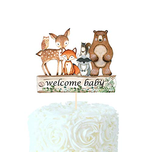 HEETON Woodland Baby Shower Cake Topper Welcome Baby Fox Deer Theme...