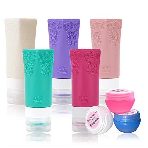 Silikon ReiseFlaschen Set für Handgepäck Kosmetika,mit Kulturbeutel, TSA für Flugzeug,Auslaufsicher Container für Shampoo, Lotion, Conditioner, Duschgel, Öl-Creme【8 Pack 】