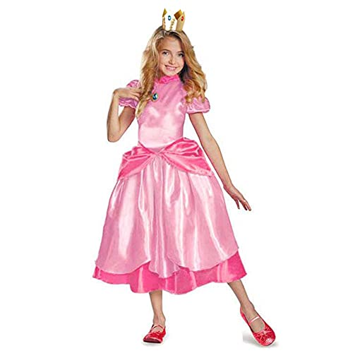 Pequea princesa Disfraz de melocotn Super Mario Brothers Princess Cosplay juego clsico disfraz de Mario disfraz de Halloween para nias y nios