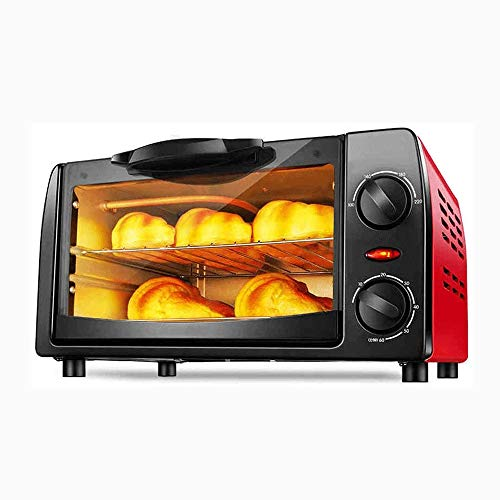 Multifunctionele Automatische Mini Electric Oven, 10L Capacity 800W Power 2 Layer bakken, Timing Temperature Control Double Tube Verwarming, Red
