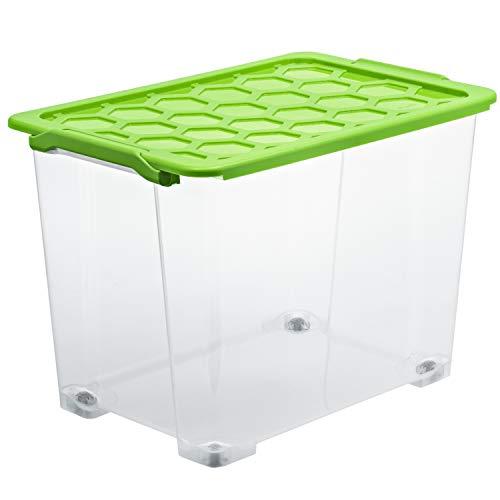 Rotho Evo Safe Keeping Aufbewahrungsbox 65l mit Deckel und Rädern, Kunststoff (lebensmittelecht) BPA-frei, transparent/grün, 65l (59,0 x 39,5 x 41,2 cm)