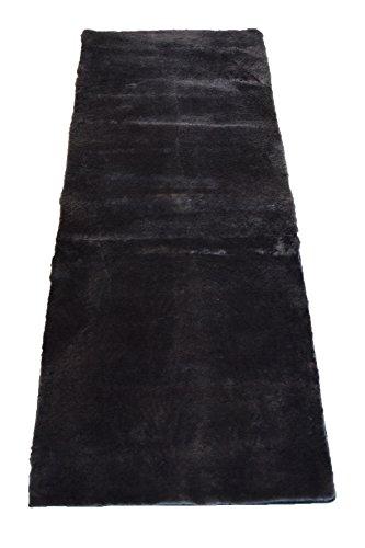 Leibersperger Felle Lammfell-Teppich echtes Schaffell | Wohnzimmer Schlafzimmer Kinderzimmer | Bett-Vorleger oder Matte für Stuhl Sofa Grau 150 x 60 cm (Schiefer)