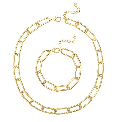 Reoxvo Chunky Gold Link Chain Necklace Bracelet Set for Women Large Oval Rectangle Chain Link Choker
