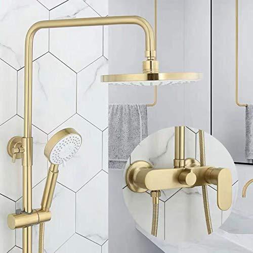 Juego de grifos de ducha en oro cepillado, cabezal de ducha tipo lluvia de ABS de 8 pulgadas con ducha de mano, grifo de ducha de lluvia de lujo, grifo mezclador de baño, sistema de ducha