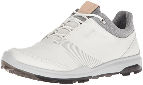 ECCO womens Biom Hybrid 3 Gore-tex Golf Shoe, White/Black Yak Leather, 7-7.5 US