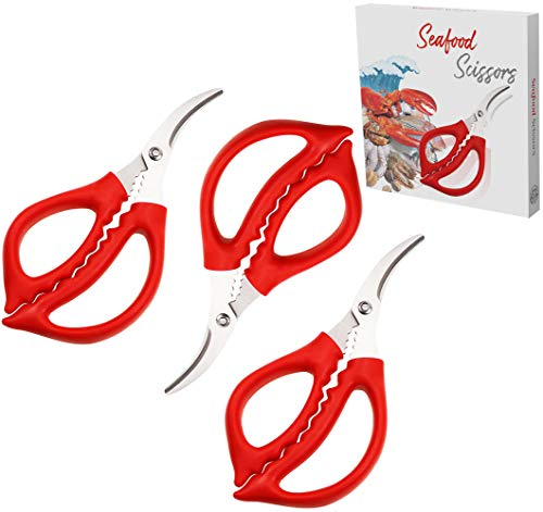 Joyce Lindberg Seafood Scissors for Kitchen Seafood Fish Crab Shrimp Lobster Scissors Set of 3