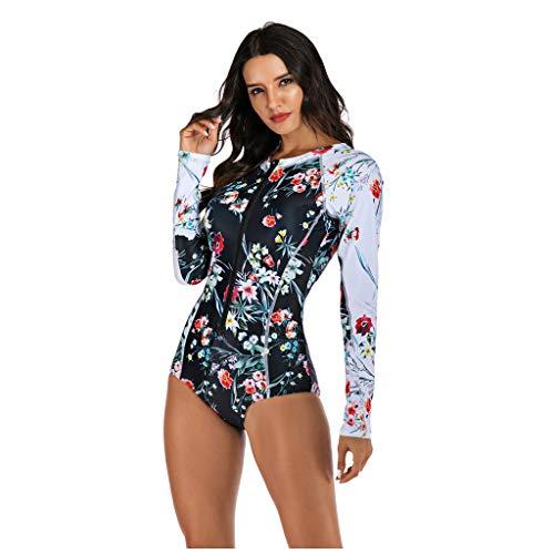 QIMANZI Damen Schwimmshirt Langarm UPF 50+ Athletic Swim Shirt Farbblock Druck Tankini Sets Badeanzug Badeshirt (I Schwarz,S)