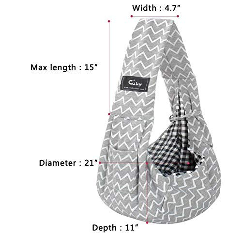 CUBY Reversible Pet Sling Carrier Hands-free Sling Pet Dog Cat Carrier Bag Soft Comfortable Puppy Kitty Rabbit Double-sided Pouch Shoulder Carry Tote Handbag (gray) 2