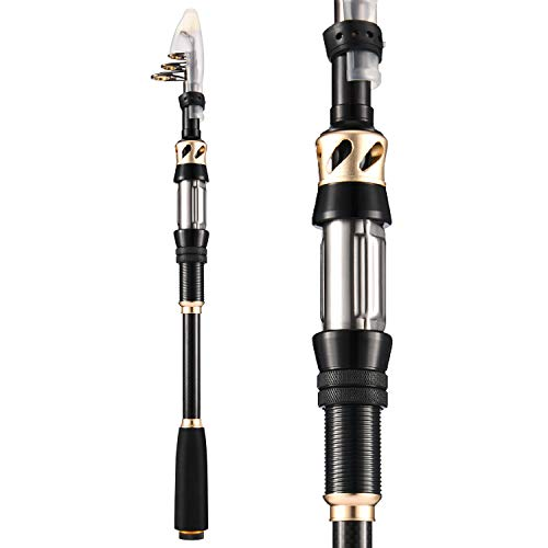 Magreel Telescopic Fishing Pole, 24T Carbon Fiber Portable Collapsible Fishing Rod with Stainless Steel Guides for Travel Saltwater Freshwater Bass Salmon Trout Fishing
