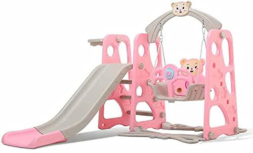 SeptYN Swing para niños, Diapositivas para niños en Interiores para niños Silla de Giro Deslizante de bebé, Parque de Atracciones Grande para bebés 3 en 1 Juguete de combinación,Pink