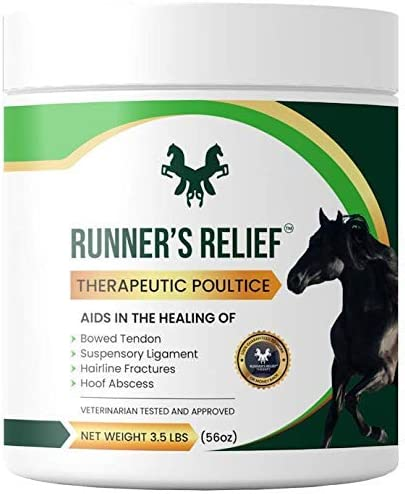 RUNNER'S RELIEF Therapeutic Poultice Tightener | Treatment for Bowed Tendon Injury | Natural Soothing Clay for All Horse | Horse Health All Breeds | use on Tendons, Ankles, Hooves, Ligaments