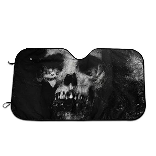 TPSXXY-WS Scary Halloween Spooky Skull Horror Windshield Sunshade for Car SUV Truck Foldable UV Ray Reflector Front Window Sun Shade Visor Shield Cover