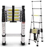 Extensión de Escalera Plegable telescópica de 9 pies / 13 pies / 17 pies / 19 pies / 21 pies / 25 pies Marco en A de Aluminio, Escalera de extensión telescópica Plegable para Uso en Casas rodantes a