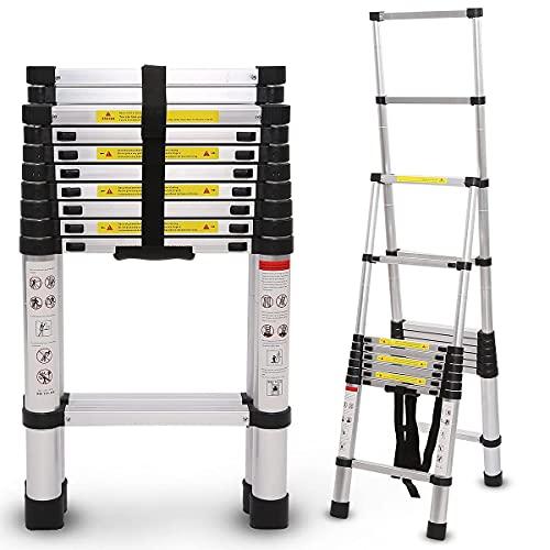 9ft/13ft/17ft/19ft/21ft/25ft Telescopic Folding Ladder Extension Aluminum...