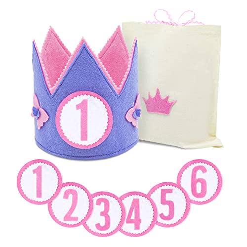 Corona Cumpleaños y Fiestas Niña de 1-6 Años. Diseñada y Fabricada en España + Números 1 al 6 + Bolsa de Algodón para Corona y Números. Confeccionada con material suave y consistente.