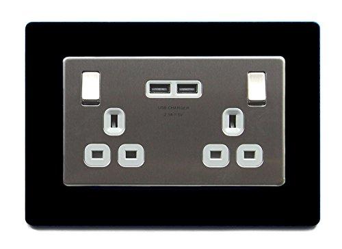 Double Light Switch Surround Acrylic Finger Plate Plug Socket - 59 COLOURS