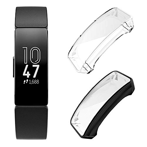 Leotop[2 Pack] Compatible with Fitbit Inspire/Fitbit Inspire HR Screen Protector, Soft TPU Plated Protective Case Full Cover Rugged Bumper Lightweight Frame Accessories Shatter Resistant(Black+Clear)