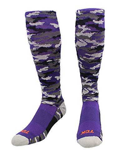 TCK Sports Elite Performance Over The Calf Woodland Camo Socks (Purple Camo, Medium)