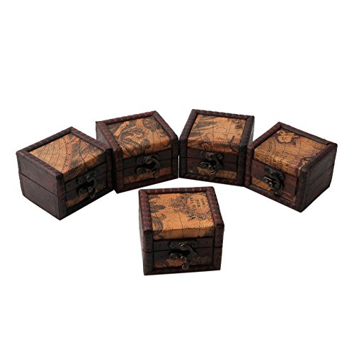 Caja de almacenamiento de madera con diseño de mapa vintage, para joyas, gemelos, pecho, regalo pequeño