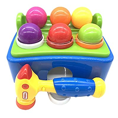 DLAGER Sound and Light Pounding Toys for Toddlers with 1x Hammer and 6 Colorful Balls Gifts for Boys Girls 1-3 Years Children, 2xAAA Battery Required ,not Included.
