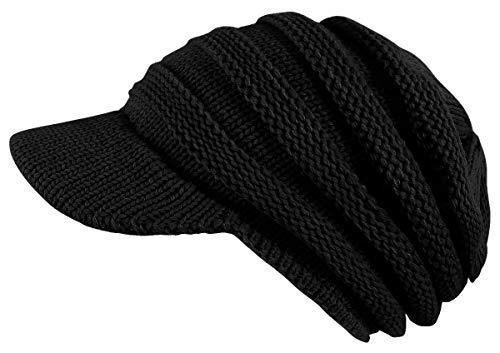 dy_mode Damen Strickmütze mit Schirm Schirmmütze Winter Mütze - A306 (A306-Schwarz)