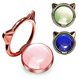 3Pack Luxury Diamond Cat Opal Cell Phone Ring Holder & Durable Grip Compatible with iPhone 12 11 Pro Max X XR XS Mini Samsung All Smartphones (Rose Gold/Blue/Green)