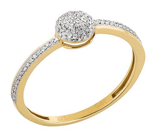Ardeo Aurum Damenring aus 375 Gold bicolor Gelbgold Weißgold mit 0,09 ct Diamant Brillant Verlobungsring Solitär-Halb-Kugel