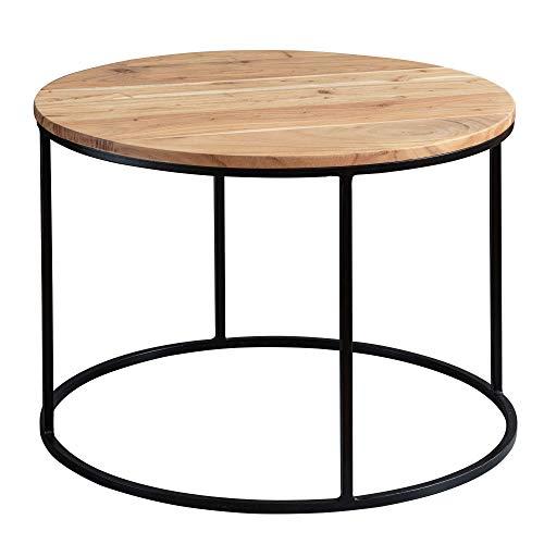 FineBuy Couchtisch 60x43x60 cm Akazie Massivholz/Metall Sofatisch   Design Wohnzimmertisch Rund   Kaffeetisch Massiv   Kleiner Tisch Wohnzimmer