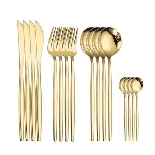 Cena de acero inoxidable cubiertos cuchara tenedor conjunto de oro Cubiertos Conjunto de cucharas y tenedores de 16 piezas Juego de vajillas de oro verde (Color : Gold 4sets)