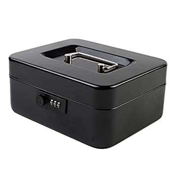 KYODOLED Medium Cash Box with Combination Lock Safe Metal Money Box with Money Tray for Security Lock Box 7.87 x 6.30 x 3.54  Black Medium