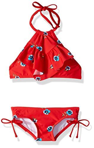 Kanu Surf Girls' Big Ruffle Halter Bikini 2-Piece Swimsuit, Pink, 2T, Morgan Red Floral, 12