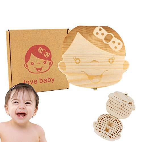 1 * Belle boîte de rangement pour dents de bébé fait main Boîte de rangement en bois pour bébé Boîte à feuilles en bois Boîte de rangement pour dents de bébé (Fille)
