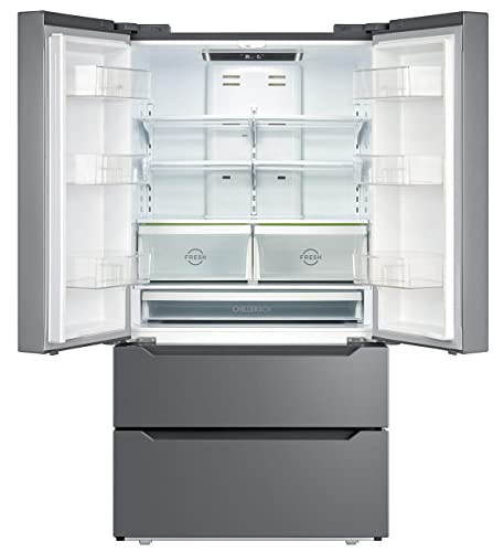SMETA 36 Inch 22.5 Cu.Ft Counter Depth French Door Refrigerator Bottom Freezer with Auto Ice Maker for Home Kitchen, Stainless Steel