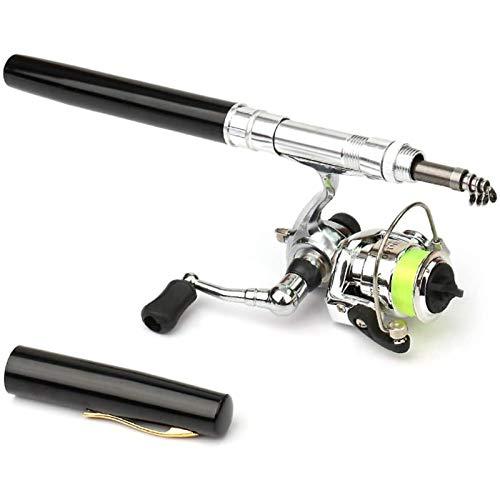 Mini Pole Pesca Kit, 1 Pulgada Mini Bolsillo De Caña De Pescar Caña Telescópica con Mini Carrete De Pesca De Metal, Caña De Pesca Telescópica Es Muy Conveniente para Llevar