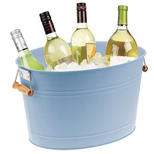 mDesign Champanera en Metal – Enfriador de Botellas Decorativo con Asas – Ideal como Cubo para Enfriar Bebidas como Vino, Cerveza, Cava o refrescos – Azul Claro
