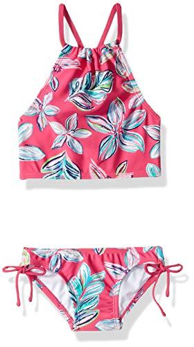 Kanu Surf Girls' Big Daisy Beach Sport Halter Tankini 2-Piece Swimsuit, Charlotte Floral Pink, 14