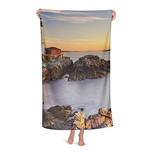 Toallas de playa personalizadas, toalla de piscina de microfibra personalizada Cape Elizabeth River Maine 31 x 51 pulgadas