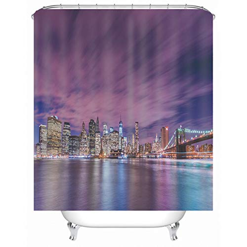 Rubyia Duschvorhang 90x180 Textil, Stadt-Nacht-Gebäude 3D Motiv Badvorhang mit Duschvorhang Ringe, Polyester, Fuchsie
