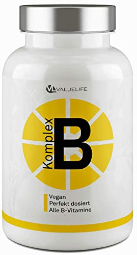 Vitamin B Komplex 100{3face4a4077feb7b595f8ccd1157607d387b39e95179436d59db34f54968ef42} – Perfekt dosiert mit bioaktivem B-Vitamin für beste Bioverfügbarkeit – Extra: Ginkgo Biloba - 150 Portionen von Valuelife